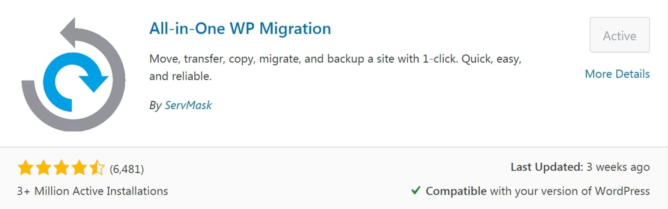 Make a Website All-in-one WP Migration plugin