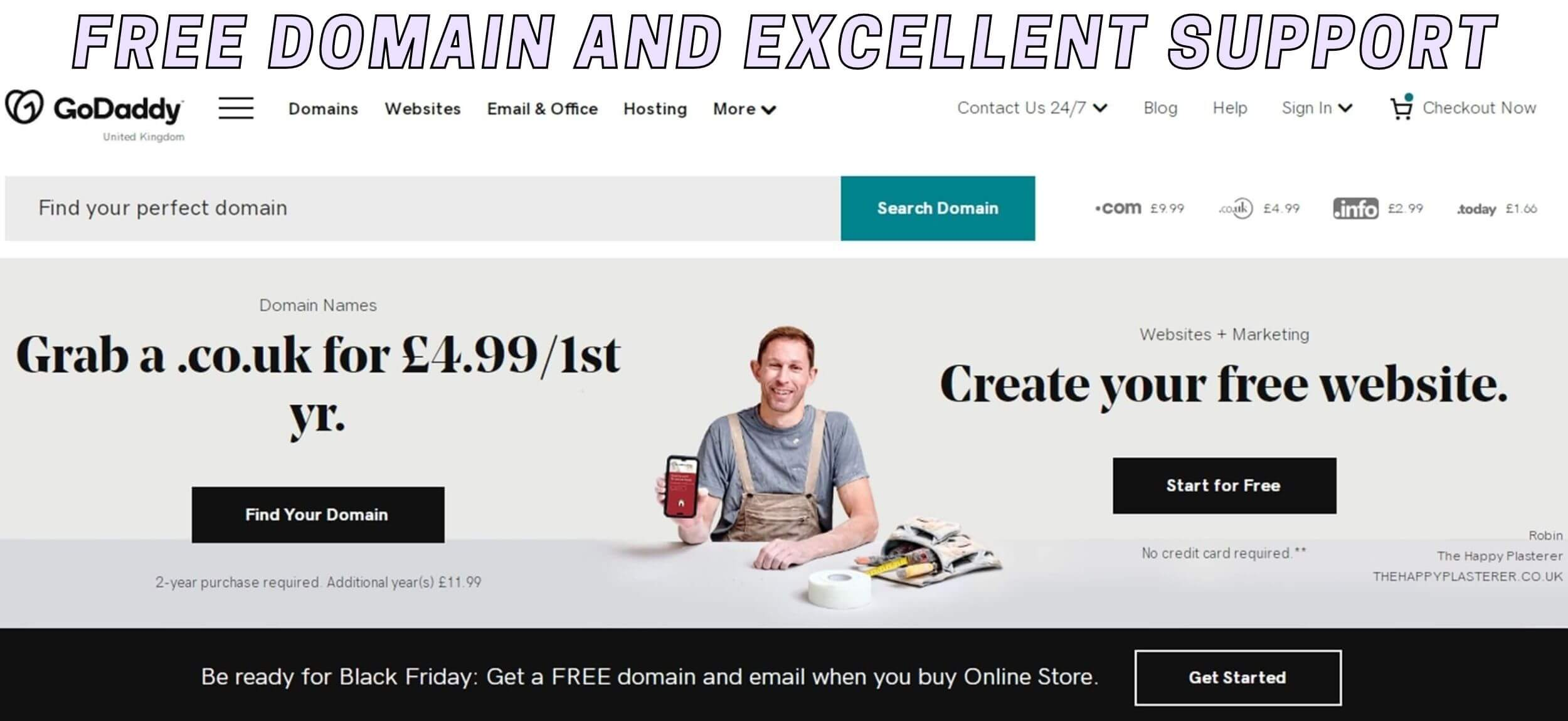 GoDaddy free domain and excellent support