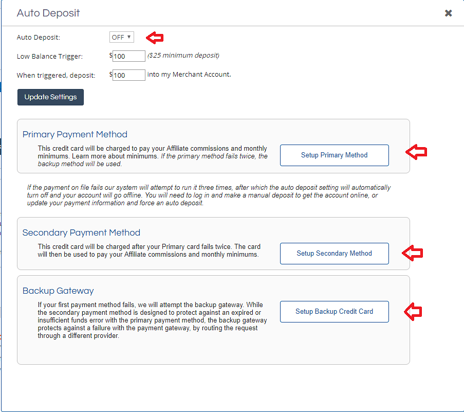 SHAREASALE PAYMENT OPTIONS
